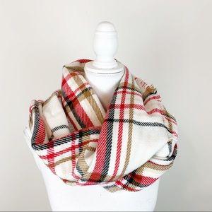 Ann Taylor 100% acrylic plaid scarf raw hem